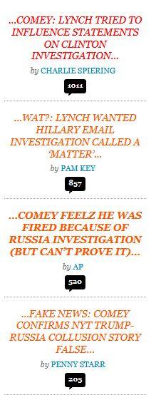 Comey testimony_Breitbart headlines_6 8 2017