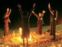 Wicca around a fire