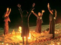 Wicca around a fire