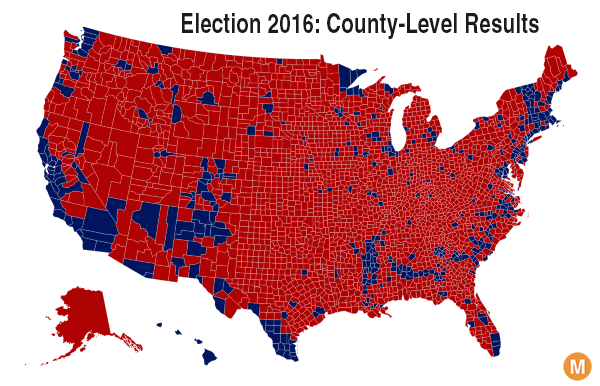 2016 election results map red blue