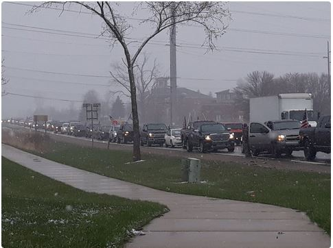 Michigan Protest_line of cars